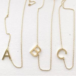 Jewelry - NEW! Brushed Gold Initial Necklace A B C D E F G H